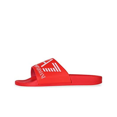 4c89e664b Emporio Armani EA7 Red Slides Slippers 905012 8P215 6(40)  Amazon.co.uk   Shoes   Bags