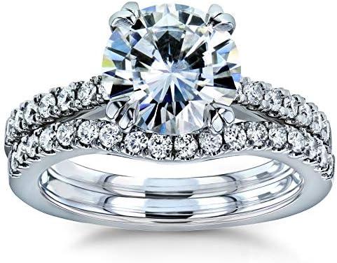 Kobelli Moissanite and Lab Grown Diamond Bridal Rings Set 2 1/3 CTW 14k White Gold (HI/VS, DEF/VS)