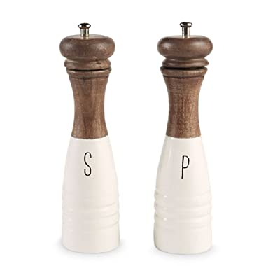 Mud Pie 4504007 Farmhouse Wood and Enamel Mills Salt and Pepper Set One Size White, Brown