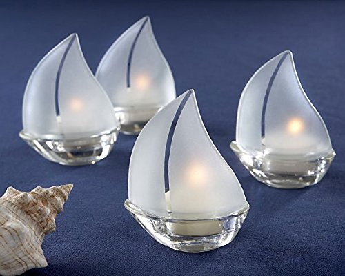Frosted Glass Sailboat Tealight Holders - Set Sail Frosted Glass Sailboat Tealight Holders, Set of 4