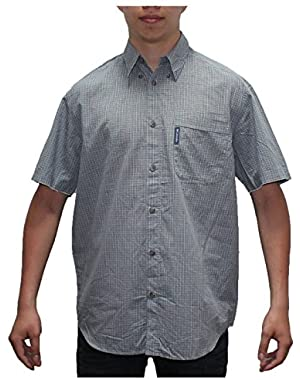 Mens Columbia Button Down Short Sleeve Plaid Summer Casual Shirt!