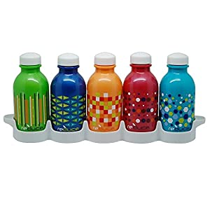 reduce WaterWeek Kids Reusable Water Bottle Set with Fridge Tray Organizer – 5 Pack, 10oz – BPA-free, Leak Proof Twist Off Cap – Assorted Colors - Perfect for Lunchboxes