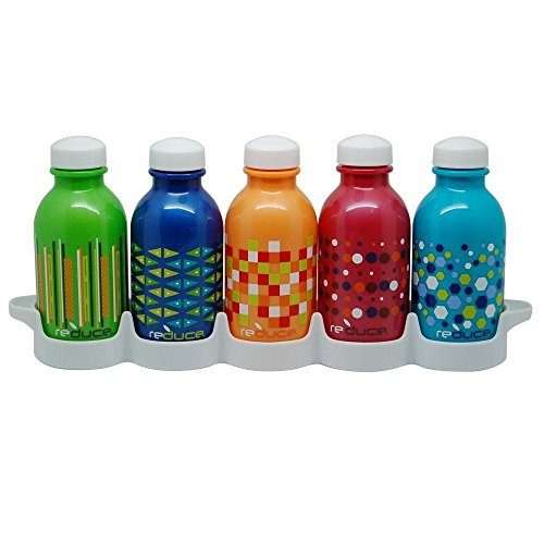 (REDUCE WaterWeek Kids Reusable Water Bottles with Bottle Set Fridge Tray – Fill with Cold Drinks, Ideal for School Lunchboxes – 5pk, 10oz– BPA-Free Plastic, Leak-Proof Twist Cap – Assorted Colors)