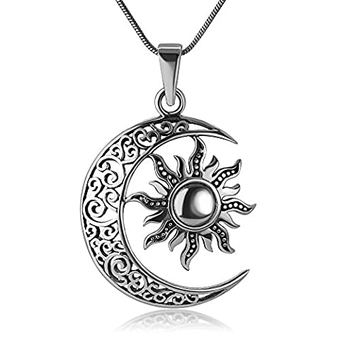 925 Oxidized Sterling Silver Filigree Crescent Moon and Sun Symbol Yin Yang Pendant Necklace, 18