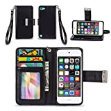 iPod Touch 5th / 6th Generation Case, IZENGATE [Classic Series] Wallet Case Premium PU Leather Flip Cover Folio with Stand for Apple iPod Touch 5th & 6th Generation (Black)
