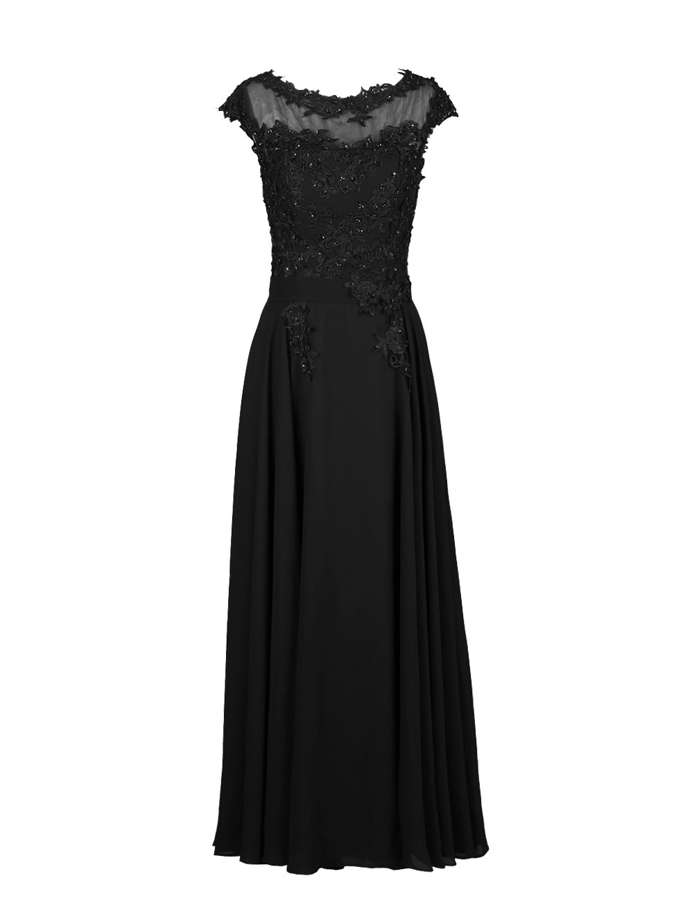Dresstell(ドレステル) フォーマルドレス アップリケ付き ロング丈 レディーズ B00SFENS16 JP29W ブラック ブラック JP29W