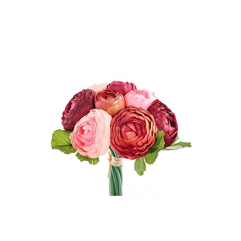 silk flower arrangements yunuo 10 heads one bouquet hign quality european artificial flower silk peony wedding bridal bouquet home party decorative (dark red)