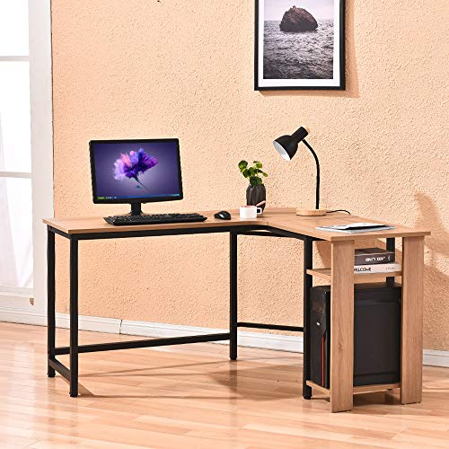Rainbow Tree L-Shaped Desk, Modern Corner Computer Desk Table W/Free Cup Stand for Home Office, Wood Top & Metal Frame (Beige)