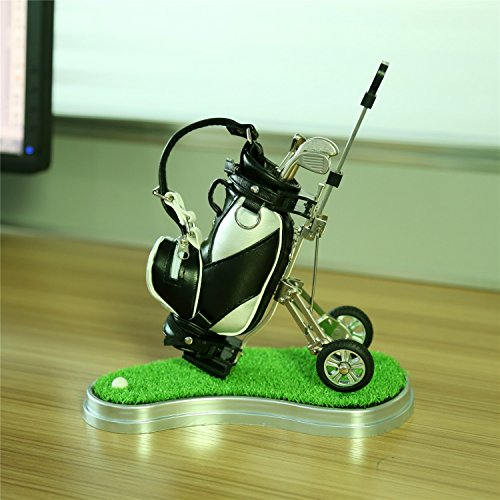 Mini desktop golf bag pen holder with lawn base and golf pens 5-piece set of golf souvenir Tour souvenir novelty gift (silver and black)¡­