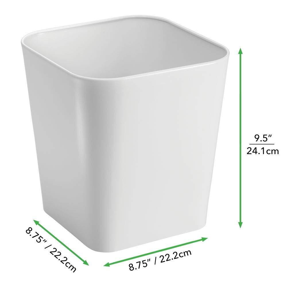 Bidone spazzatura moderno in acciaio Cestino da design quadrato e in acciaio per bagno bianco mDesign Cestino rifiuti per bagno cucino o ufficio