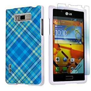 Bloutina LG Optimus Showtime L86C White Protective Case + Screen Protector By SkinGuardz - Plaid Blue