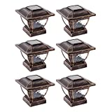 Paradise GL28998BZ Solar Cast Aluminum LED Post Cap Light for 4x4 Wood Posts (Bronze, 6 Pack)