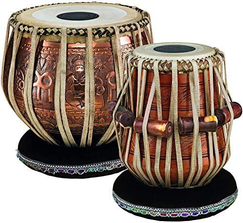 Copper Tabla Set - SAI Musical Concert Quality, 4 KG Copper Bayan - Ganesha Design, Mahogany wood Dayan with Padded Bag, Hammer, Cushions, Cover, Tabla Drum Set (5 Inch Pudi D# Scale Tabla)
