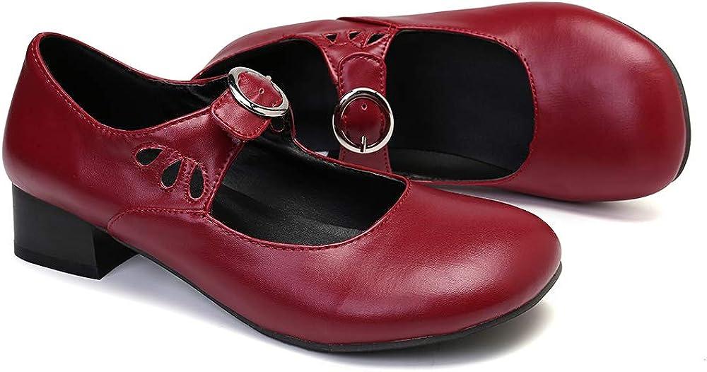 Ballerines Mary Jane /à Talons Bride Cheville Boucle Chaussures de Ville Automne Hiver /Élegantes Noires Rouge Marron gracosy Mocassins Cuir Femme