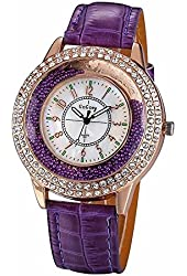 Gogoey Women Gold Plated Case Watch Luxury Pu Leather Band Quartz Ladies Dress Jewelry Wristwatch Purple