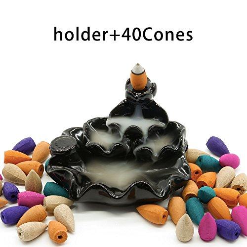 Omonic Zen Garden Ceramic Censer, Backflow Variety Mixed Aromatherapy Incense Cones and Holder/Burner Set, Include 40 Cones