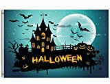 Wamika Happy Halloween Flag 3x5 FT Brass Grommets Funny Scary Halloween Starry Night Haunted House Spooky Pumpkins Bats Full Moon Garden House Flags Banner Indoor Outdoor Party Home Decoration