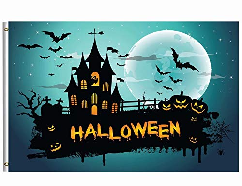 Wamika Happy Halloween Flag 3x5 FT Brass Grommets Funny Scary Halloween Starry Night Haunted House Spooky Pumpkins Bats Full Moon Garden House Flags Banner Indoor Outdoor Party Home Decoration by Wamika