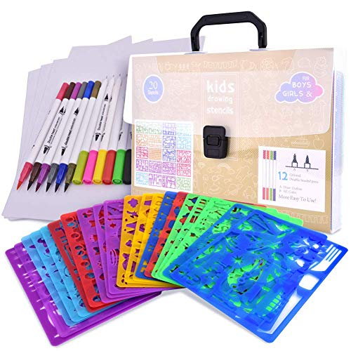 CtopoGo Drawing Stencils Set for Kids with Over 400 Shapes,Educational Toys to Enhance Children's Creativity,Arts and Crafts for Girls & Boys,Travel Activities Kit for Age 3+ Ideal Kids Gifts ()