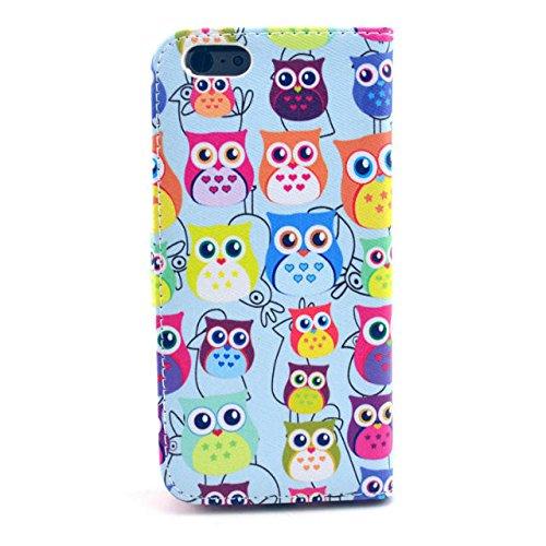 Owl Painting Art Design Beutel PU Leder Stehen Flip Schutzhülle Hülle Tasche Schale Case Cover für Apple iPhone 6 4.7 Zoll (16#)