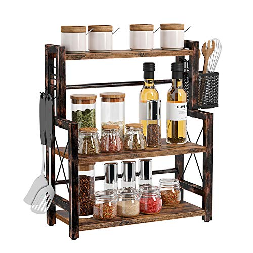 Rolanstar Spice Rack Organizer, 3 Tier Kitchen Bathroom Countertop Storage Shelf with a Wire Basket and 2 S-Hooks…