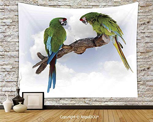 AngelDOU Parrots Decor Soft Fabric Durable Tapestry Wall Hanging Two Parrot Macaw on a Branch Talking Birds Gifted Clever Creatures of The Nature Wall Art Hippie Tapestry.W78.7xL59(inch)