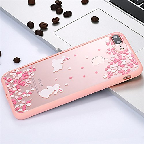 Clear Pink Cherry Flowers iPhone 5 SE Case For Girls Cute Bunny Rabbit iPhone 5s Back Cover Blossom Floral Theme iPhone 5/5s Skin Protector Transparent Soft Bumper Case Luxury Stylish Fashion, Acrylic - Floral Bunny