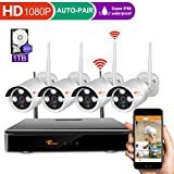 [4CH 1080P DVR] CORSEE HD Wireless Security Camera System with 4 x 720P Waterproof Indoor Outdoor Wireless Cameras,Auto-Pair,1TB HDD (Motion Detection,Email Alarm)