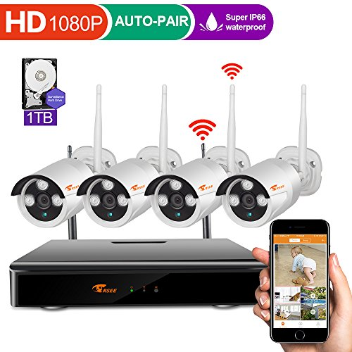 3 Channel Video ([4CH 1080P DVR] CORSEE HD Wireless Security Camera System with 4 x 720P Waterproof Indoor Outdoor Wireless Cameras,Auto-Pair,1TB HDD (Motion Detection,Email Alarm))
