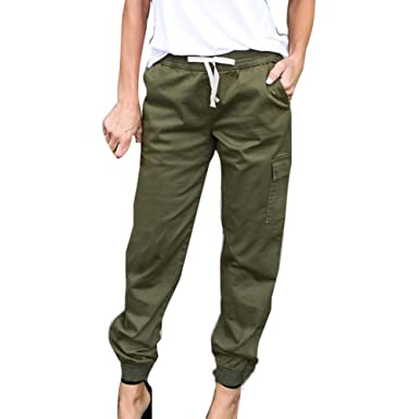 6ff868f4c Hibote Pencil Pants for Women Ladies Fashion Solid Medium Waist Trousers  with Pockets Comfy Stretchy Drawstring Waist Capris Trousers Pants  Jeggings: ...