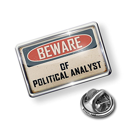 NEONBLOND Pin Beware of Political Analyst Vintage Funny Sign