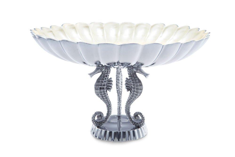 Julia Knight Sea Horse Pedestal Bowl, 10-Inch, Azure, Blue ProMerchant 6480036