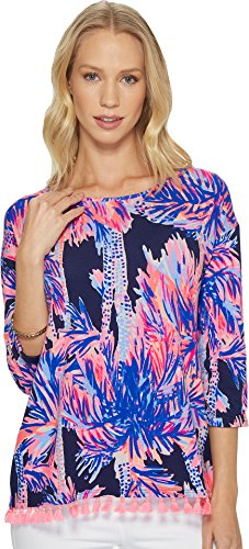 Lilly Pulitzer Women's Mercer Top Bright Navy Palms Up Reduced - Pima Sleeve Jersey Stretch