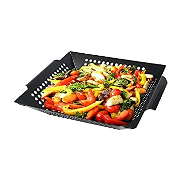 Grilling Basket, Arctic Monsoon, Great Non-stick Grill Accessories for BBQ, Seafood, Veggies & Stir Fry, Grade Stainless Steel, Black