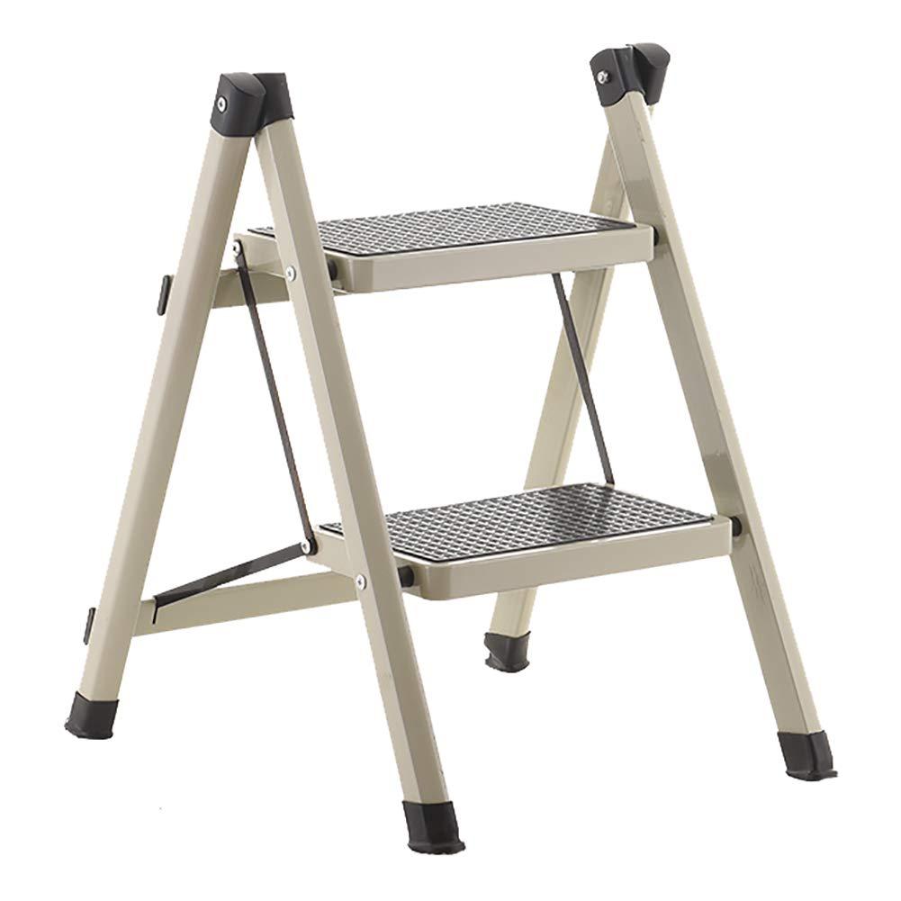 LXF Step stool Ladders Stools Heavy Duty Iron 2 Step Folding Herringbone Ladder Engineering Stepladder Portable Kitchen 150kg Capacity