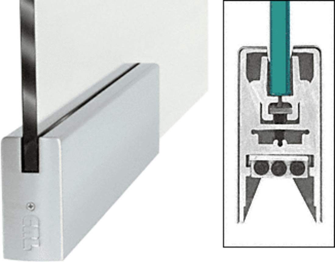 CRL Brushed Stainless 9-1/2' Patch Door Rail Squared Style for 3/8' Glass Without Lock