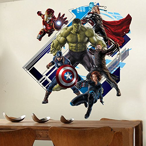 3D Avengers Super Hero Art Wall Sticker Kid Room Decor Decal Removable Art Mural