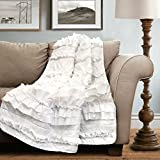"Lush Decor 16T000208 Belle Throw, 60"" X 50"", White,60"" X 50"""