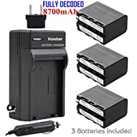 Kastar Battery (3-Pack) and Charger for Sony NP-F970 NP-F960 F970 F960 F975 F950 and DCR-VX2100 HDR-AX2000 FX1 FX7 FX1000 HVR-HD1000U V1U Z1P Z1U Z5U Z7U HXR-MC2000U FS100U FS700U and LED Video Light