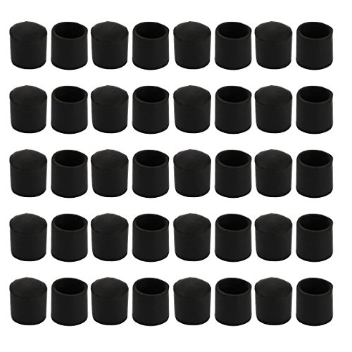 uxcell 40pcs Furniture Desk Chair Round Rubber Leg Tip Cap 22mm Inner Diameter Black Color by uxcell