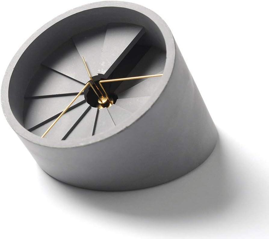 22 Design Studio 4th Dimension Concrete Desk Clock | Gold/Gray
