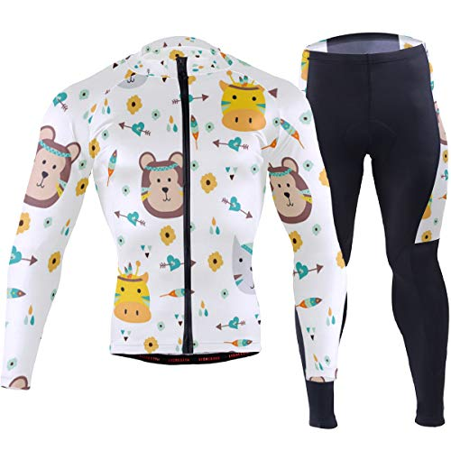 Colorful Animals Indian Hunting Men's Cycling Jersey Set Breathable Quick-Dry MTB Road Bike Luxury Black
