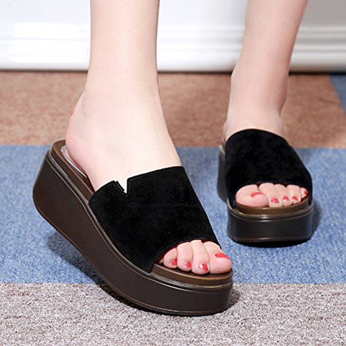 Sandals ZCJB Summer Fashion Thick Bottom and Slippers Woman Muffin Bottom Slope Slippers Outer Wear Platform Shoes Black UzSrR9