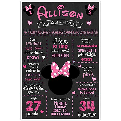 picture about Free Printable Mickey Mouse Signs referred to as : Minnie Mouse Chalkboard Indicator Milestone Statistics