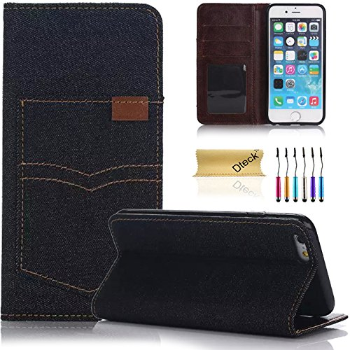 iPhone 6s Case,Dteck(TM) Slim-fit Denim Design Premium Leather Magnetic Cover Full Protective Wallet Case [with Card/Money Slots] for Apple iPhone 6s/6 (05 Jeans Black)