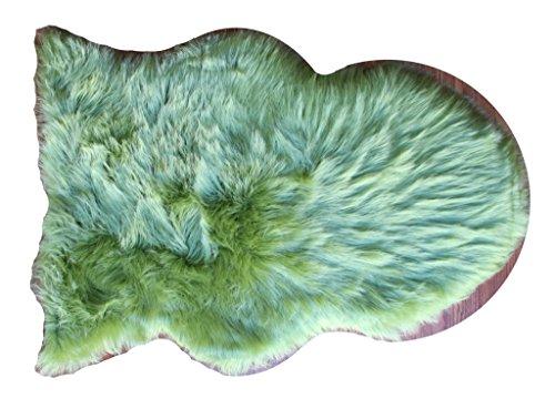 eepskin Fur Shag Area Rug 24 Inch X 36 Inch (Lime) (Bright Lime Modern Kids Rug)