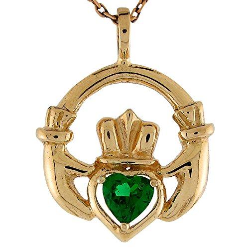 (Jewelry Liquidation 10k Yellow Gold Simulated Emerald May Birthstone Claddagh Irish Charm Pendant )
