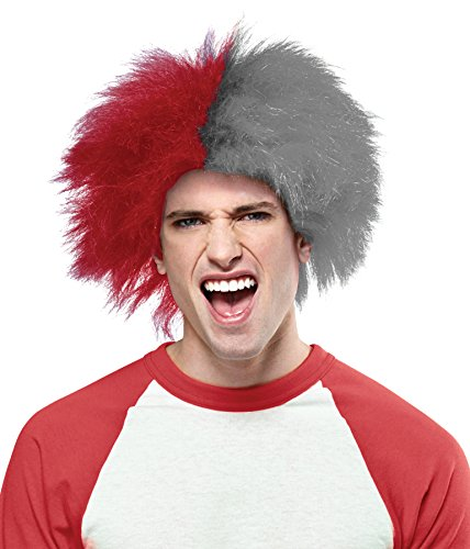 Crazy Sports Fan Wig color Red & Grey - Fun Spiky Twins Rockets Patriots Badgers Huskies Redhawks Team Troll Style Synthetic]()