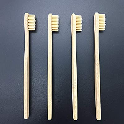 Pack of 30 Eco-friendly Bamboo Toothbrushes Natural Disposable Toothbrush with Soft BPA-free Nylon Bristles with Handle for Oral Health Dental Care-6.89 Inches