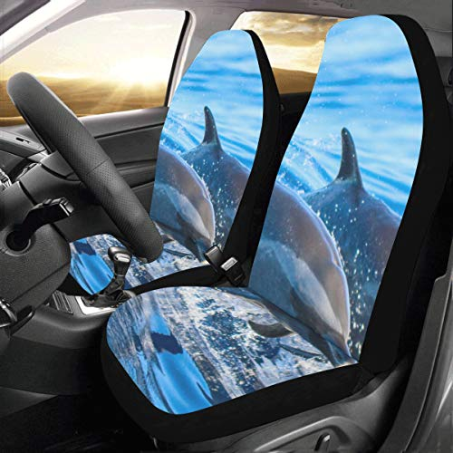 Dolphin Ocean Friend Custom New Universal Fit Auto Drive Car Seat Covers Protector for Women Automobile Jeep Truck SUV Vehicle Full Set Accessories for Adult Baby (Set of 2 Front)